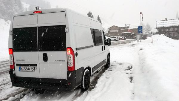 Schneefall in Mittelberg