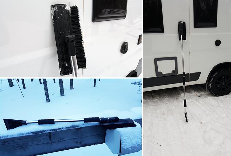 Wintercamping mit dem Wohnmobil - Eiskratzer und Besen
