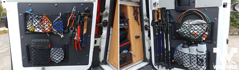 Unsere Allroundtalente für mehr Stauraum und Ordnung im Wohnmobil - Aufbewahrungsnetze und Werkzeughalter