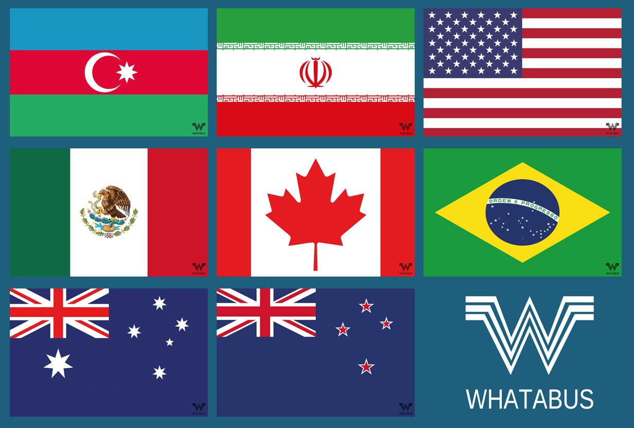 8 Neue Flaggen Aserbaidschan Iran Usa Mexiko Kanada Brasilien Australien Neuseeland Je 8 5 X 5 5 Cm Whatabus